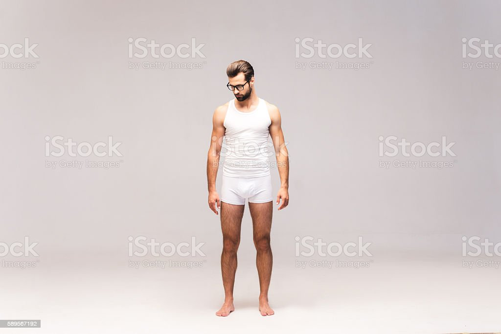 Man in underwear. stock photo