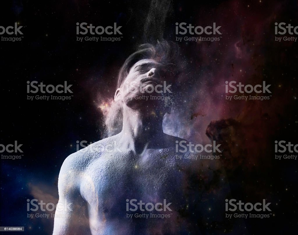 Man in universe stock photo