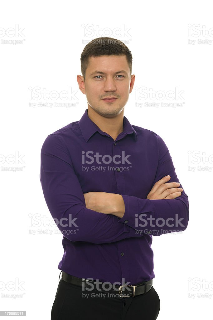 Man in violet shirt and trousers royalty-free stock photo