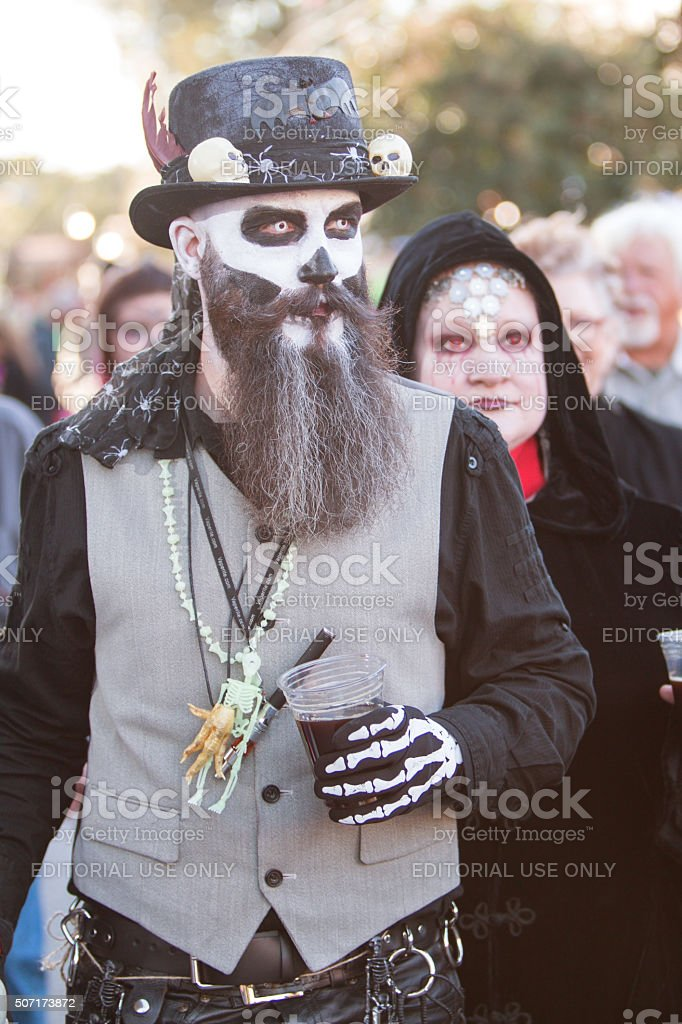 Man In Voodoo Costume Walks Around At Georgia Zombie Festival stock photo