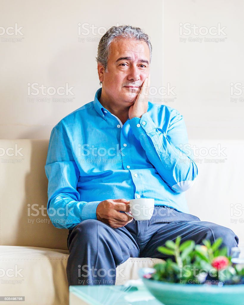 Man in Waiting Room stock photo