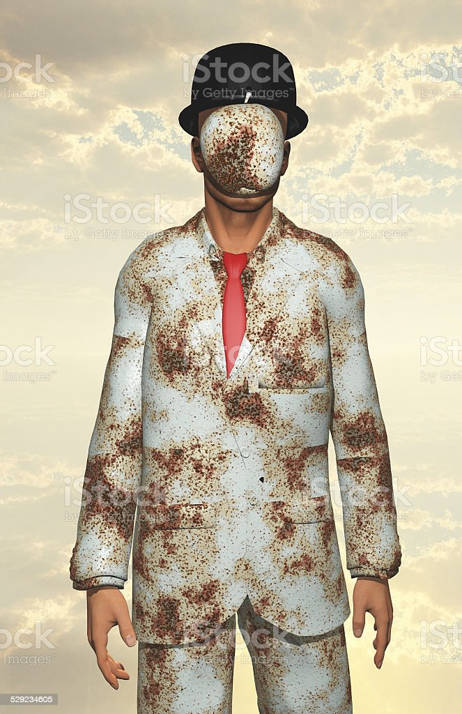 Man in white corroded suit with obscured face stock photo