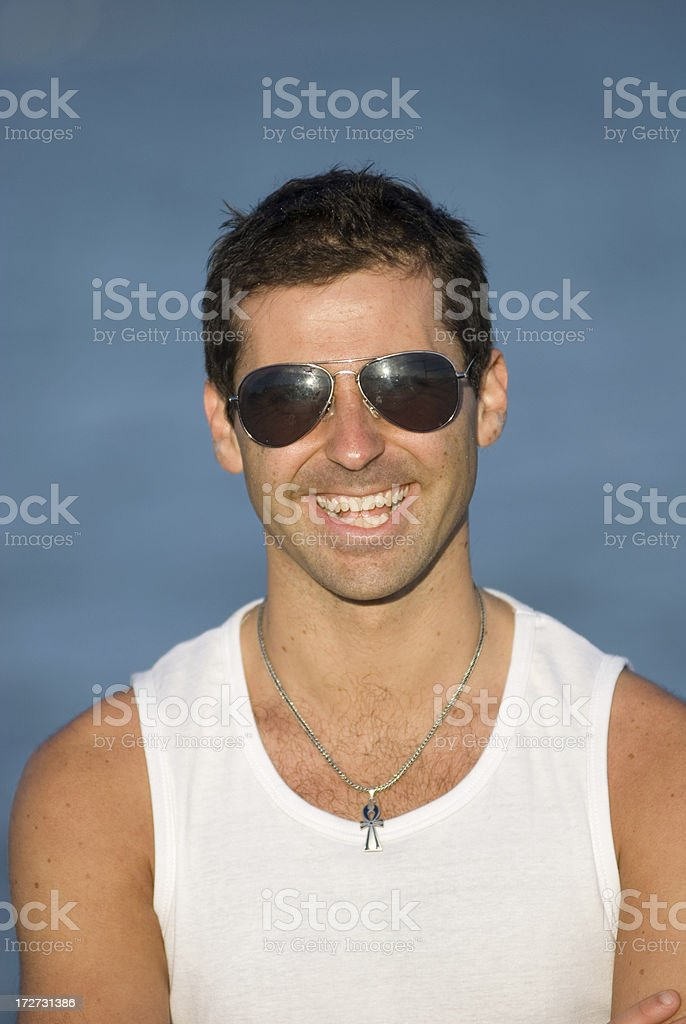 Man in white laughing royalty-free stock photo
