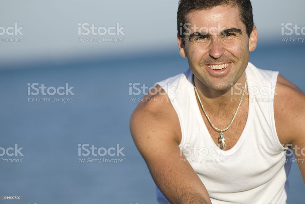 Man in white right royalty-free stock photo
