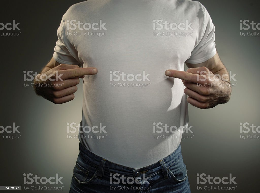 Man in white t-shirt pointing at himself royalty-free stock photo
