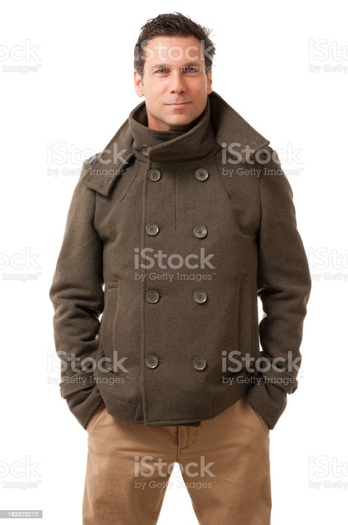 Man in Winter Coat Isolated on White Background royalty-free stock photo