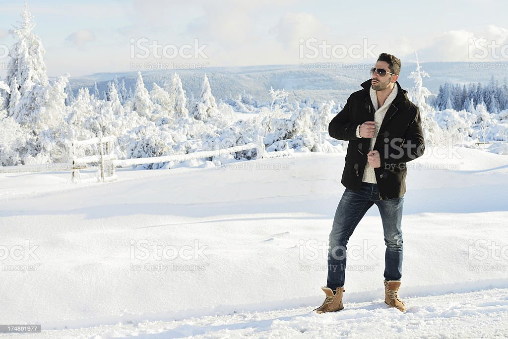 Man in Winter Landscape royalty-free stock photo