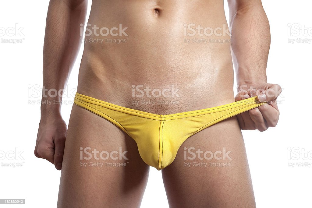 Man in Yellow Briefs royalty-free stock photo