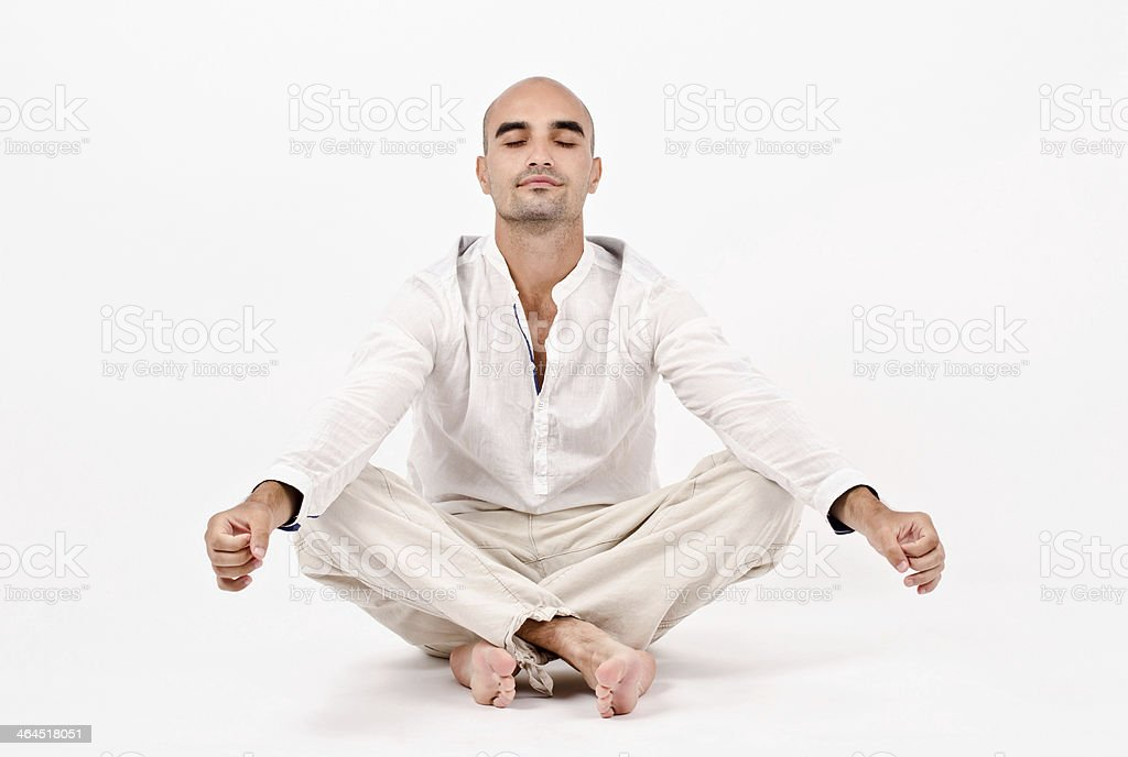 Man in yoga position. royalty-free stock photo