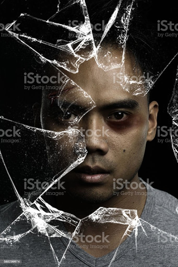 man injured with a broken mirror effect stock photo