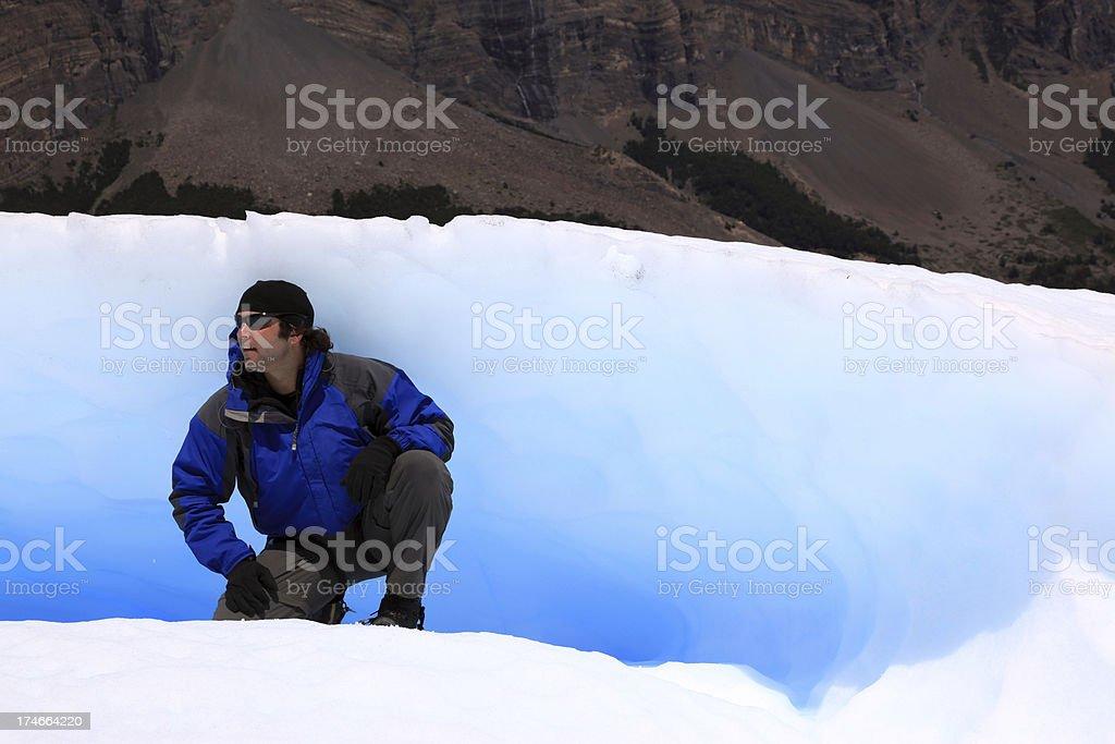 Man Inside a Glacier on Perito Moreno, Argentina royalty-free stock photo