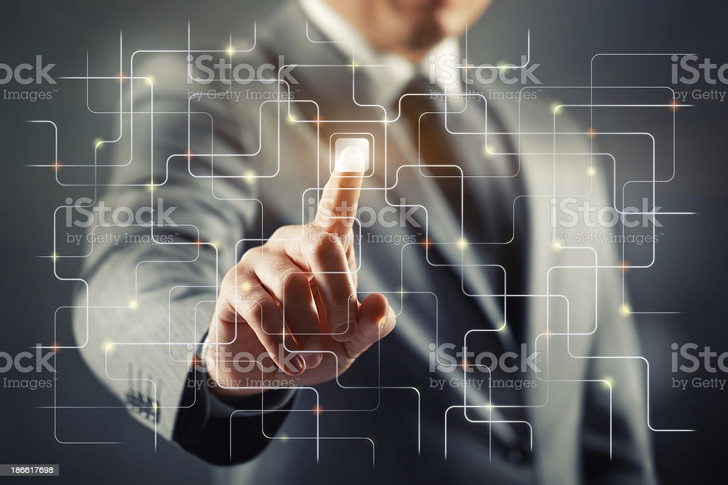 Man interacting with virtual screen stock photo