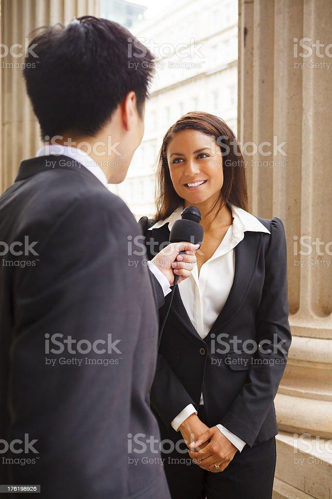 Man Interviews Woman royalty-free stock photo
