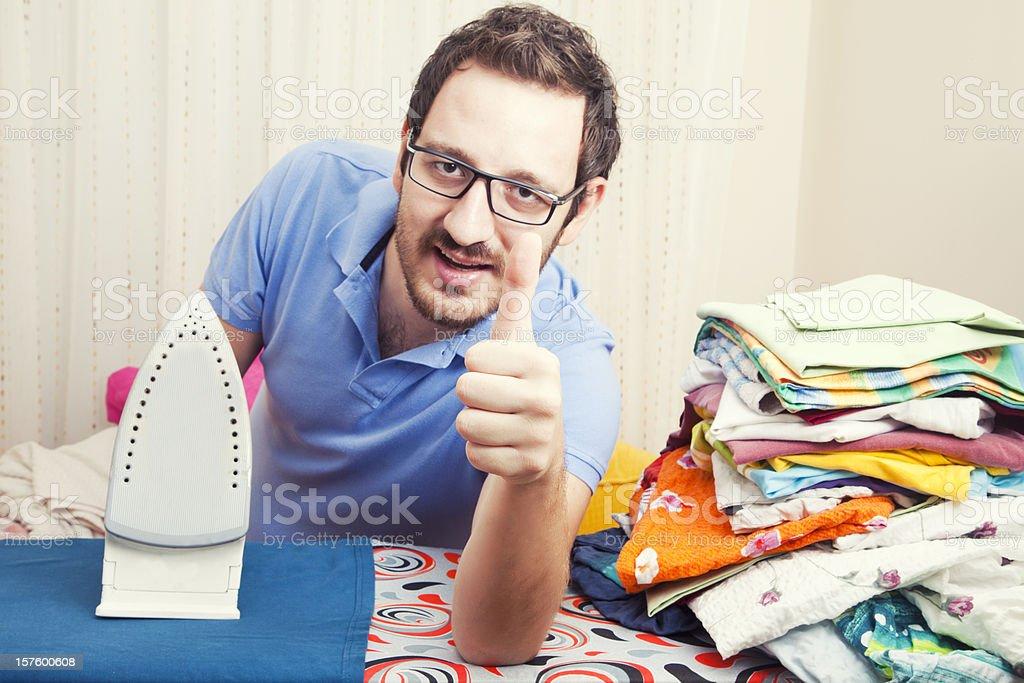 Man Ironing Clothes royalty-free stock photo