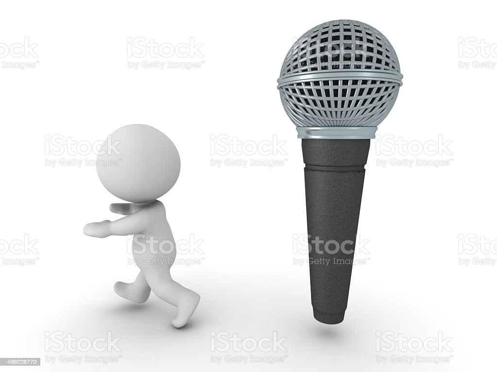 3D Man is afraid of public speaking stock photo
