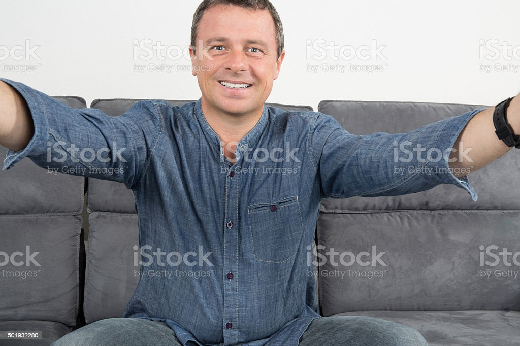 Man is doing a selfie stock photo