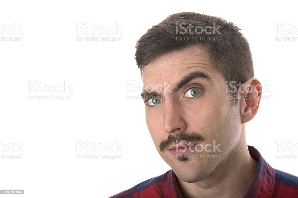 man is exaggerating his raised royalty-free stock photo