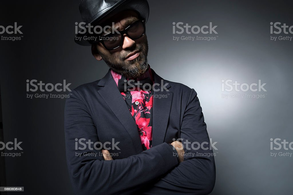 Man is in anger with sunglasses stock photo
