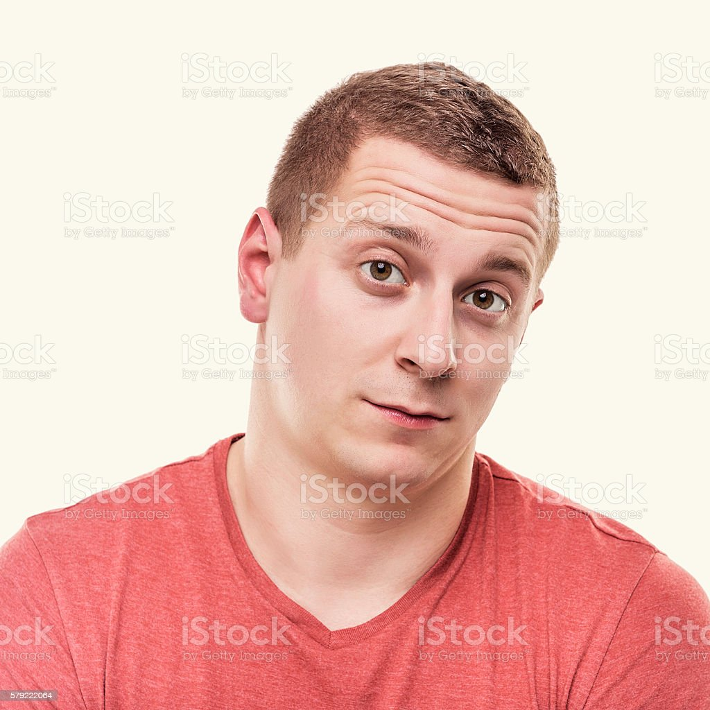 Man is looking indifferently. stock photo