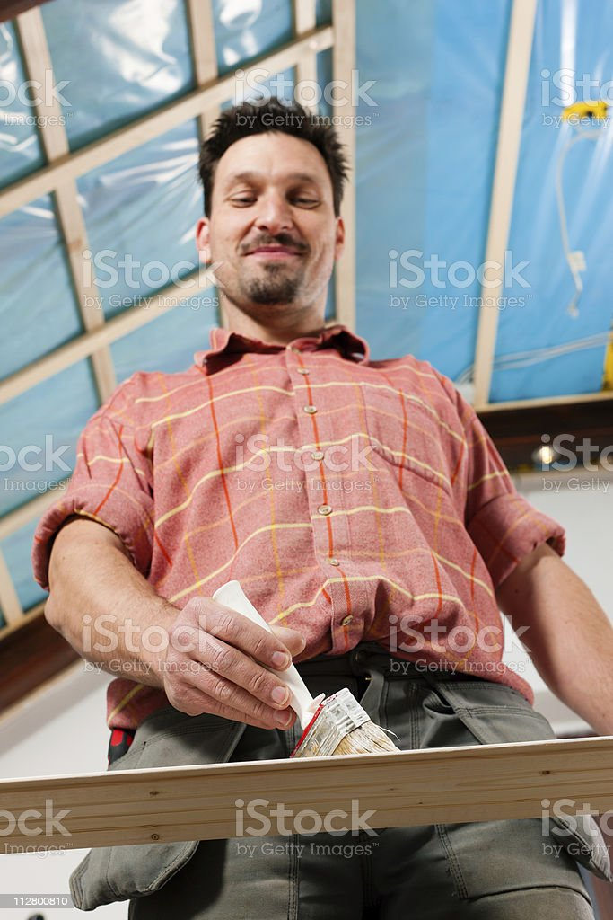 Man is painting royalty-free stock photo
