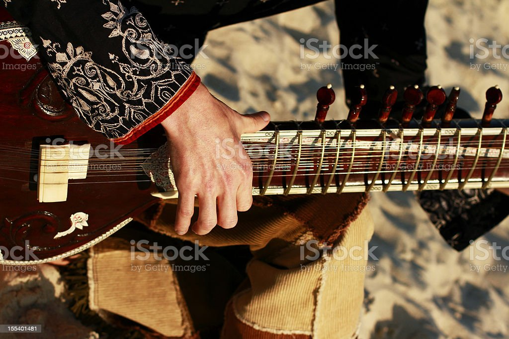 Man is playing on the sitar stock photo