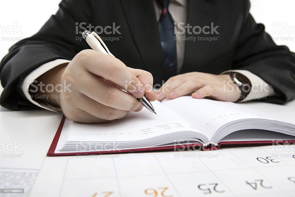 man is preparing for written work royalty-free stock photo