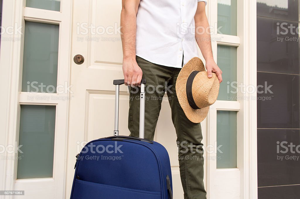 man is ready for vacation stock photo