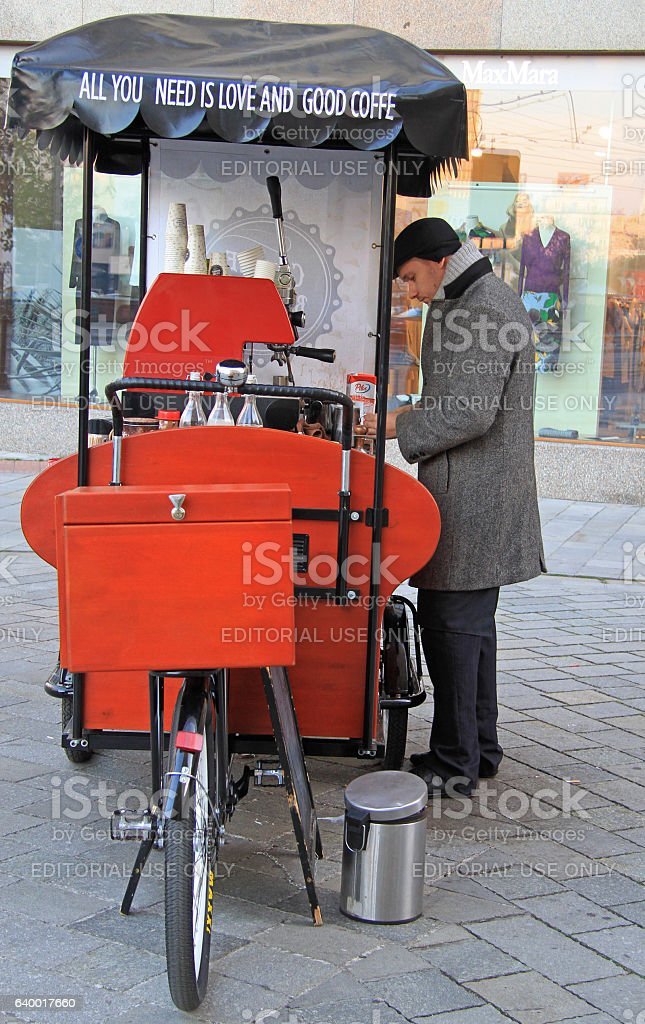 man is selling coffee outdoor in Bratislava, Slovakia stock photo