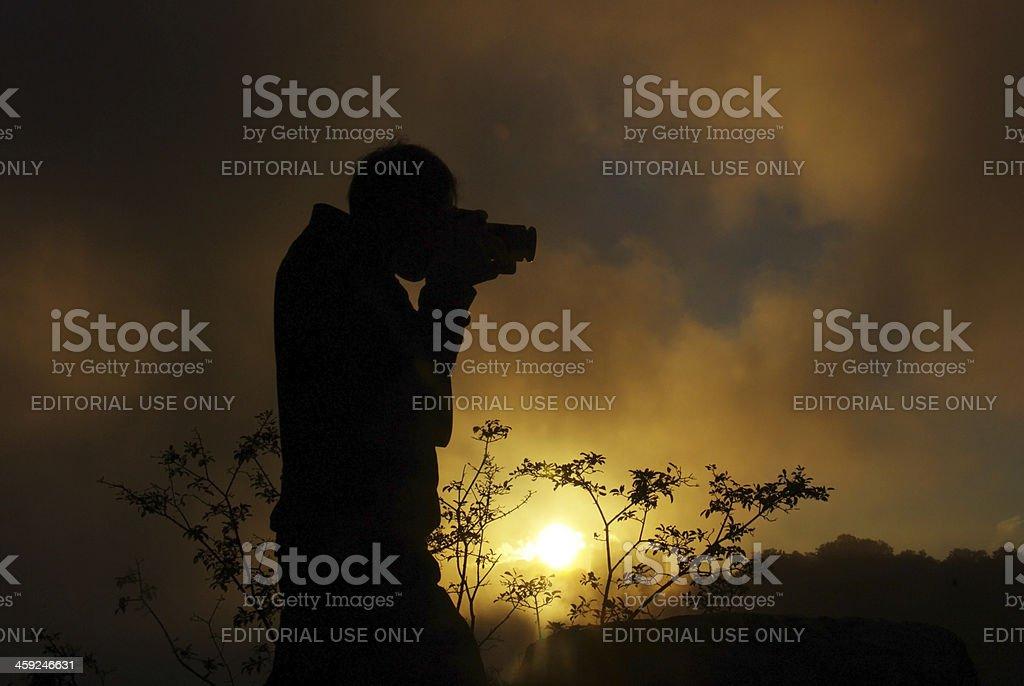 Man is taking pictures at Niagara Falls stock photo