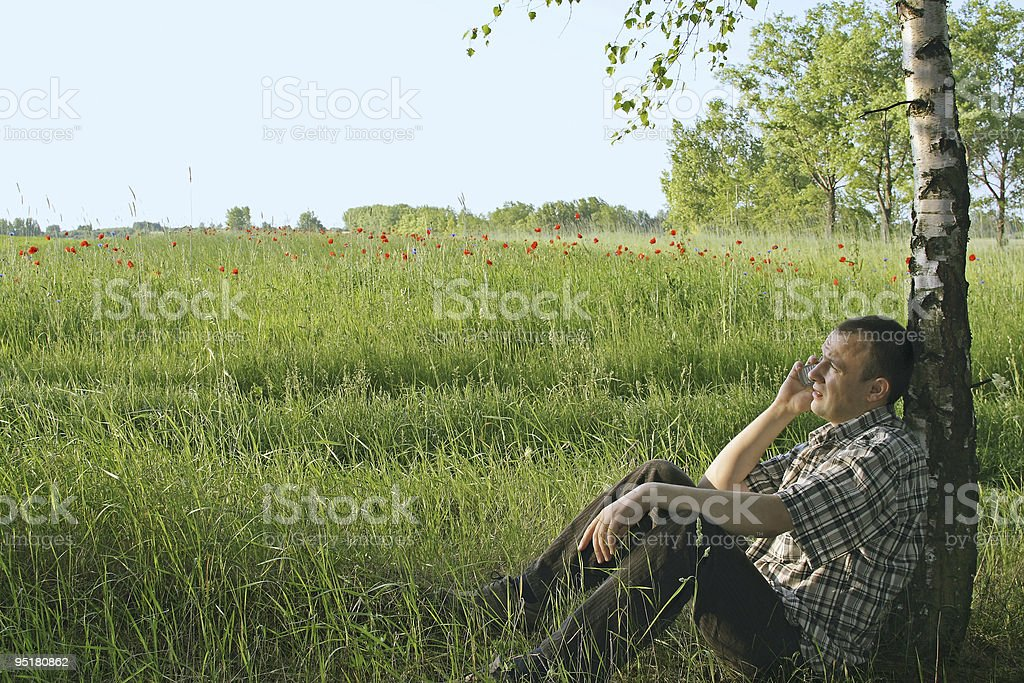 Man is talking on the phone royalty-free stock photo