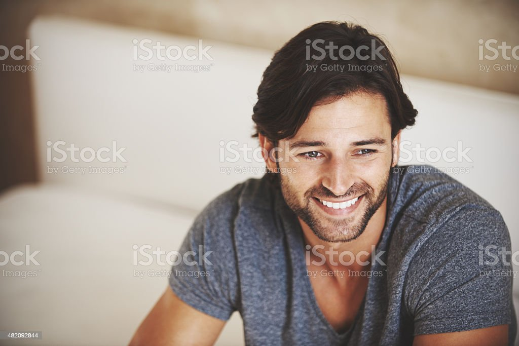 Man, it feels good to be home stock photo