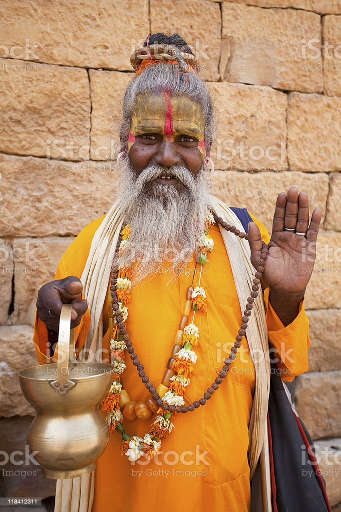 man jain priest welcoming saluting royalty-free stock photo