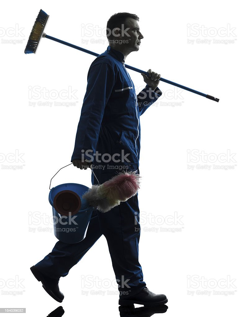 man janitor cleaner cleaning silhouette royalty-free stock photo