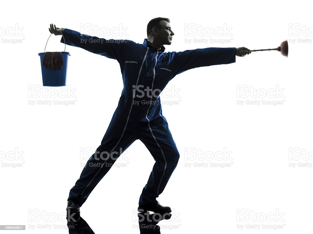man janitor plumber silhouette royalty-free stock photo