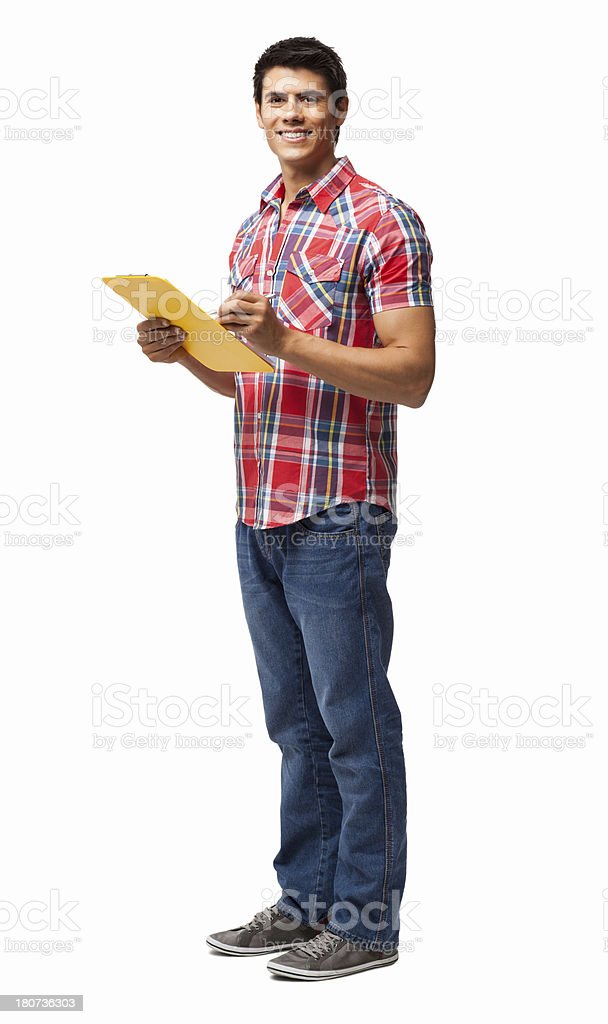 Man Jotting To Do List On Clipboard - Isolated royalty-free stock photo