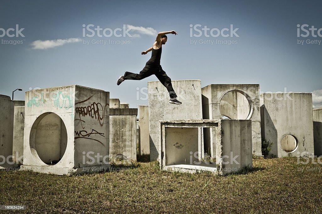 Man jumping free running stock photo