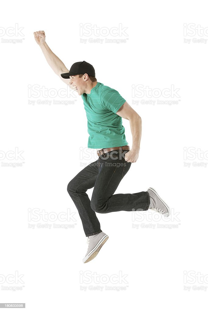 Man jumping in excitement royalty-free stock photo
