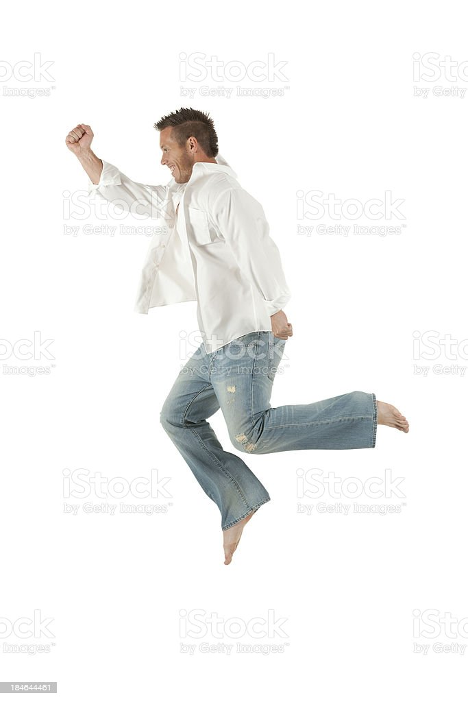 Man jumping in the air royalty-free stock photo