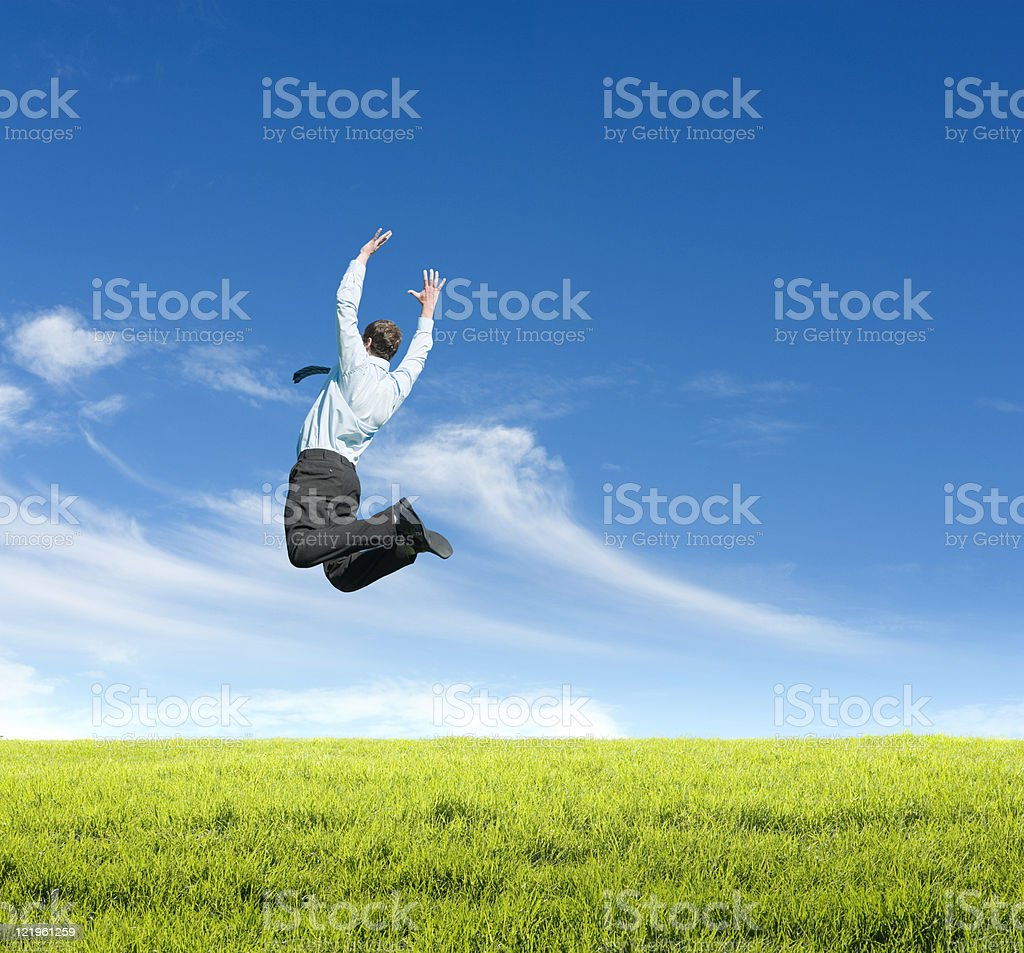 man jumping on  meadow royalty-free stock photo