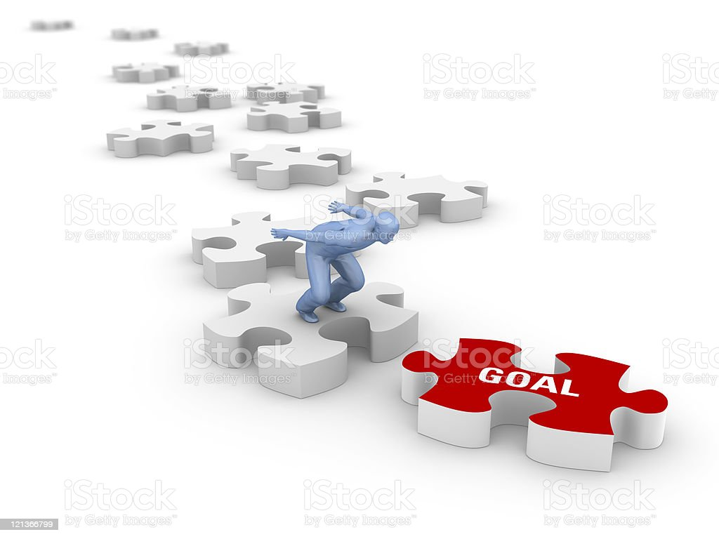 Man Jumping over Jigsaw Pieces royalty-free stock photo