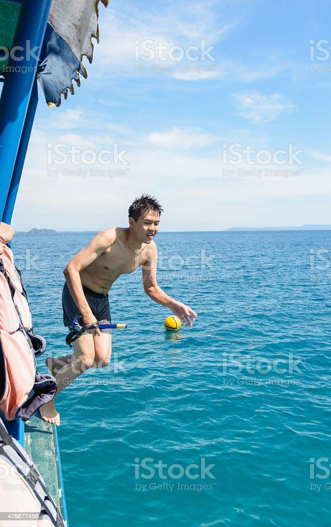 man jumping stock photo