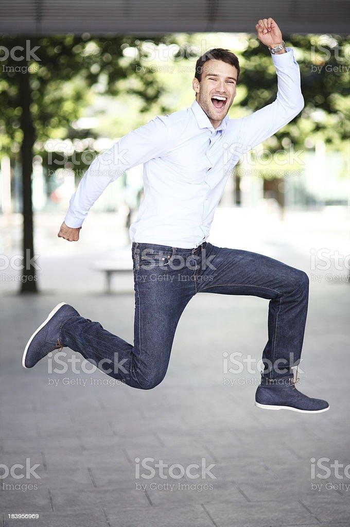 Man jumping with joy royalty-free stock photo
