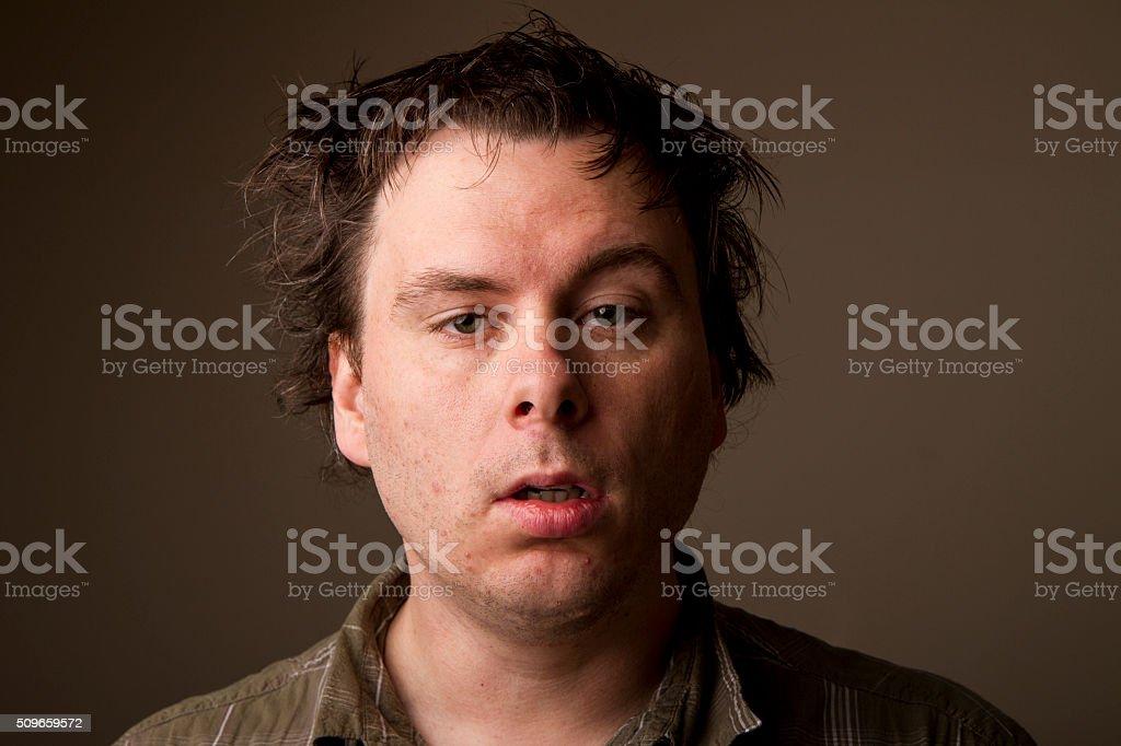 man just woke up stock photo