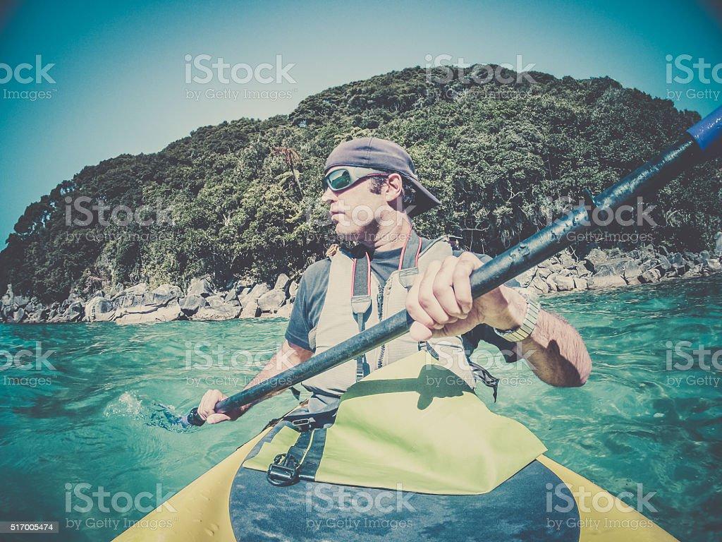 POV Man Kayaking in Abel Tasman National Park, New Zealand stock photo