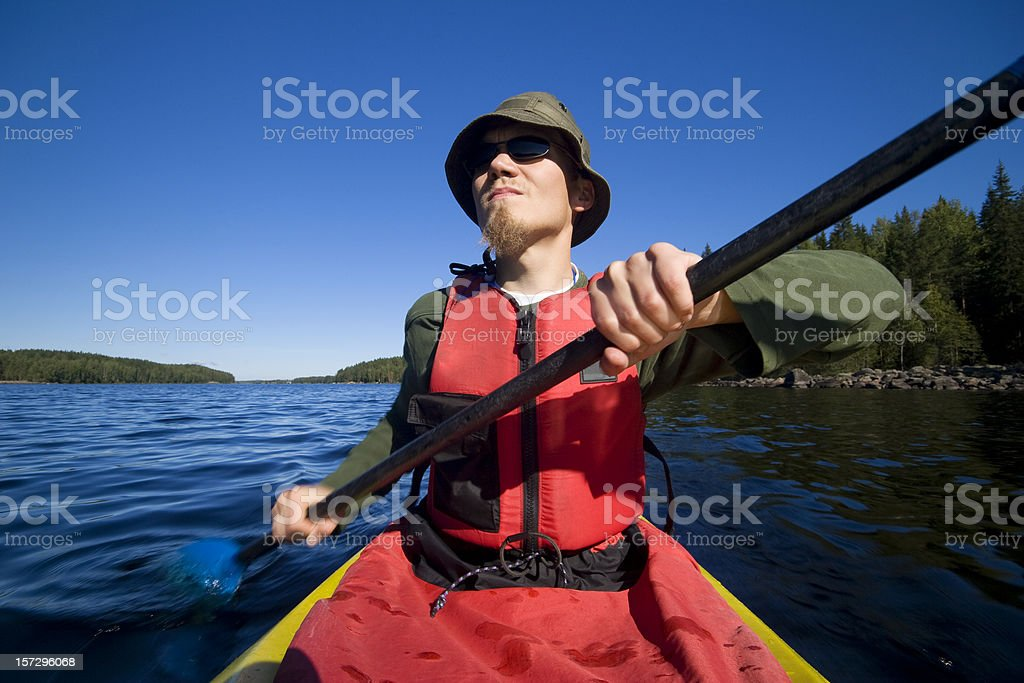Man kayaking royalty-free stock photo