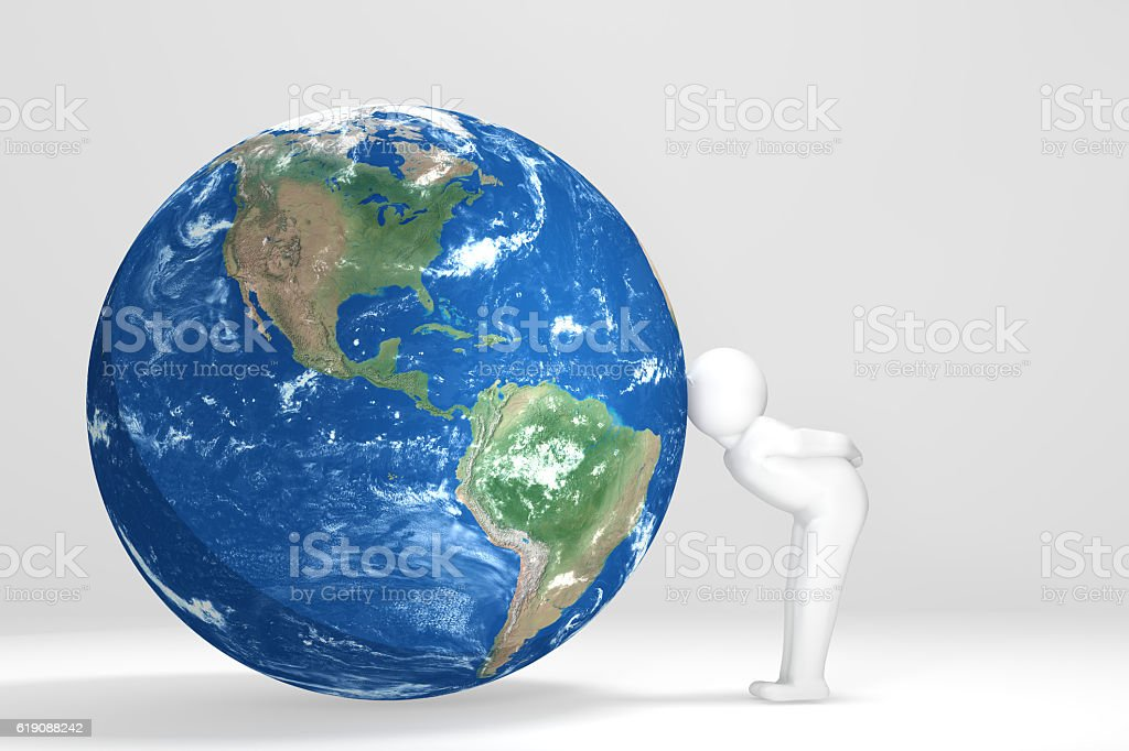3D man kisses Earth - North and South America stock photo