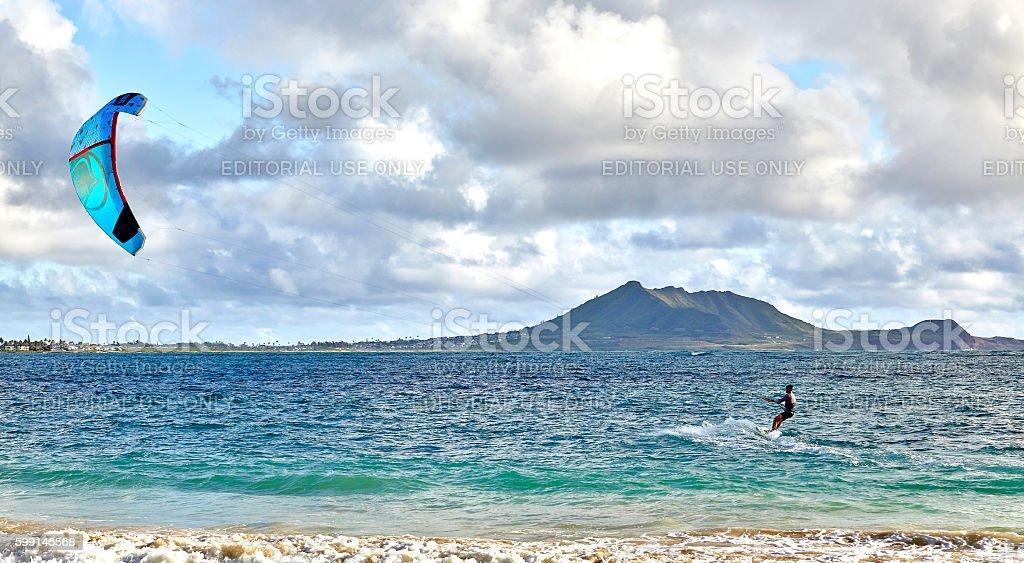 Man kiteboarding off Kailua Beach Oahu Hawaii stock photo