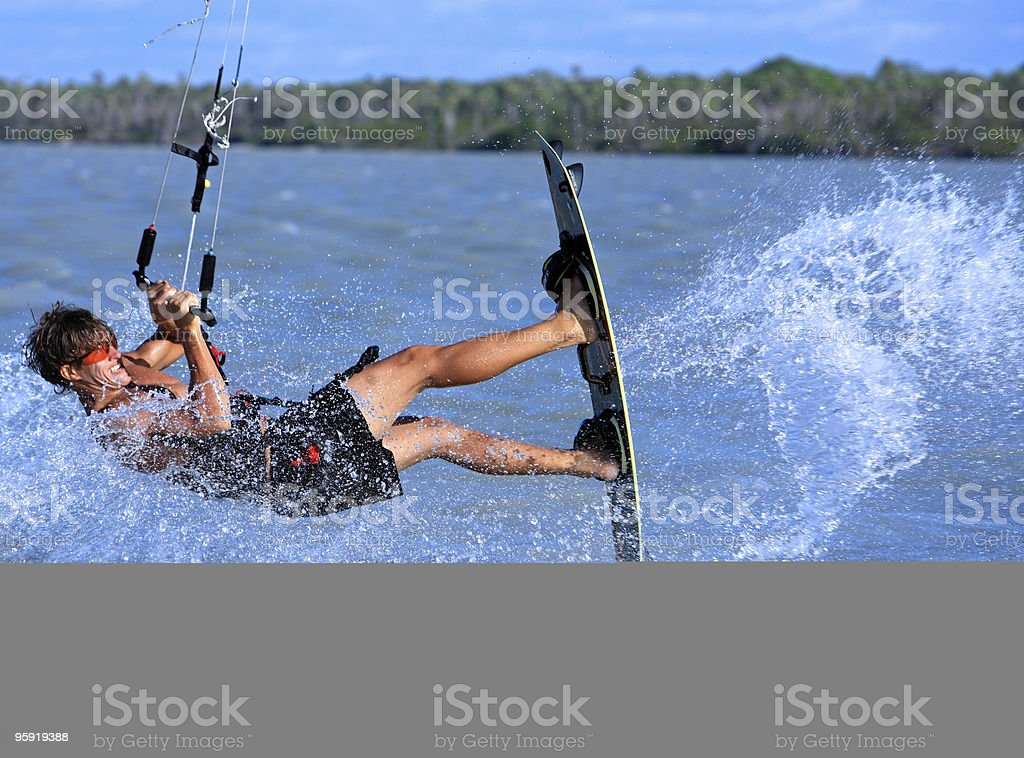 man kitesurfing in Brazil stock photo