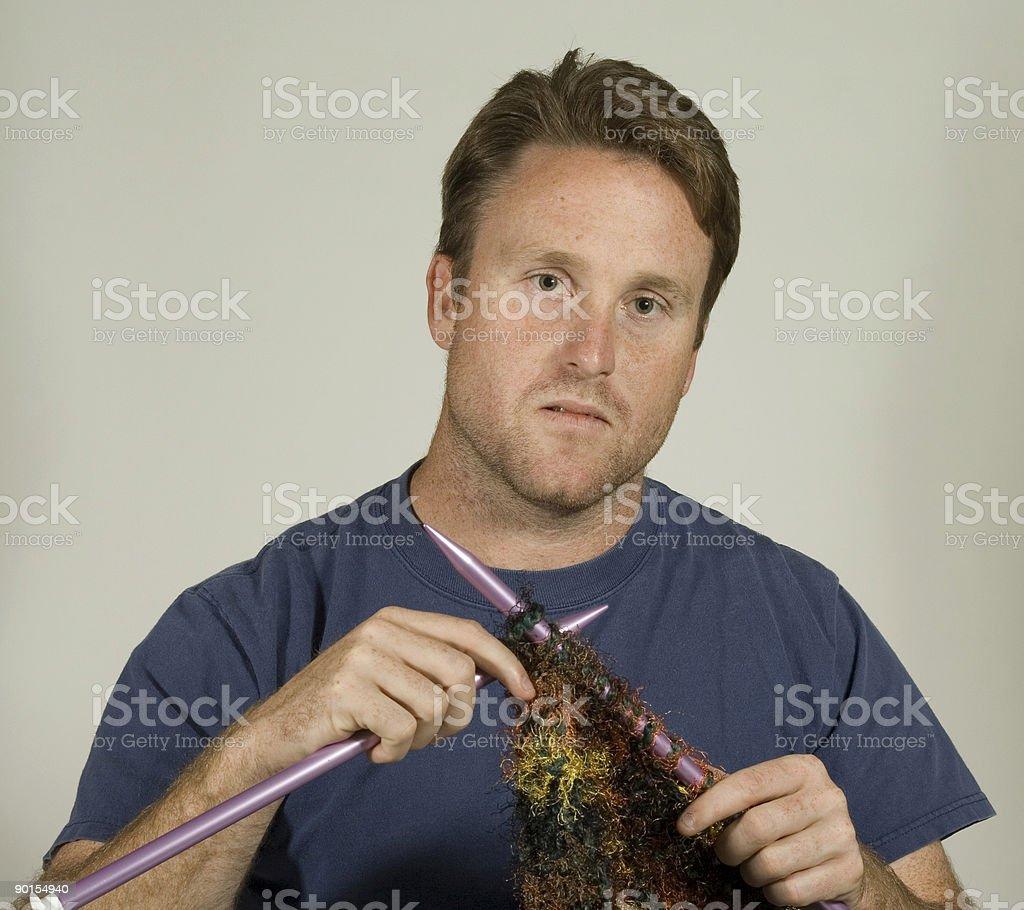 Man Knitting royalty-free stock photo