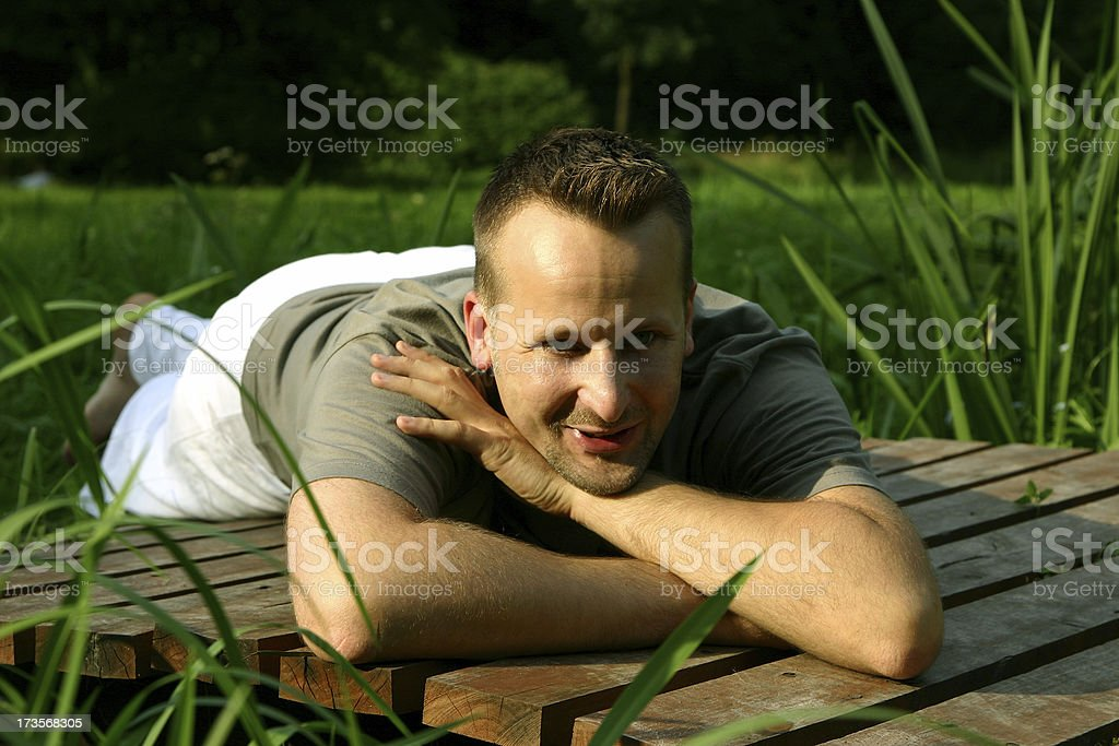 man laing on the breastbone royalty-free stock photo